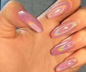 acrylics, pink, and holographic nails image
