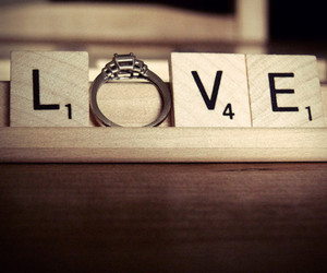 love, ring, and scrabble image