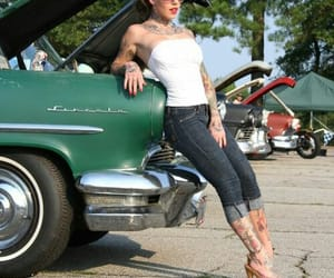 pin up girls, bewty, and car's image