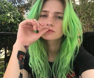 girl, green hair, and hair image