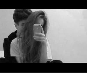 black and white, couple, and selfie image