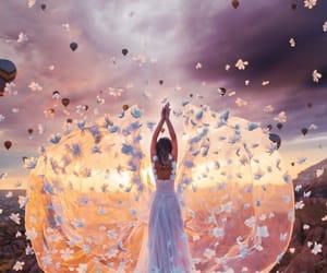 dress, girl, and sky image
