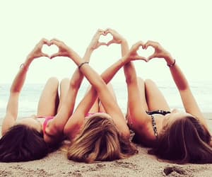 beach, heart, and friends image