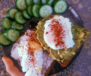 breakfast, cucumber, and coffee image