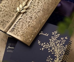 invitation, wedding, and gold image