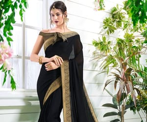 designer saree, border saree, and black saree image