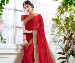 red saree, designer saree, and border saree image