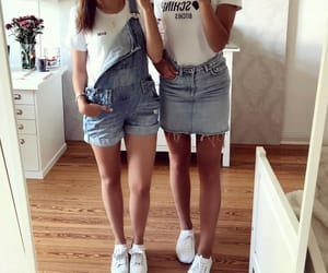 best friends, outfit, and skirt image
