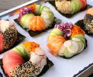 avocado, cucumber, and salmon image