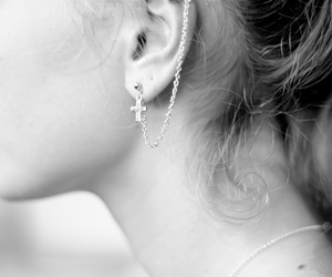 bw, cross, and earring image