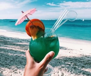 drink, beach, and ocean image