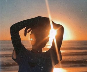 beach, girl, and sun set image