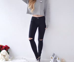clothes, grey tee, and black pants image