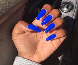 acrylics, blue, and blue nails image