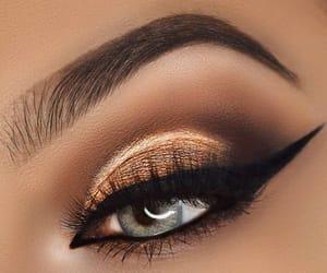 make up, grey eyes, and black liner image