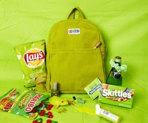 green, schoolbag, and green schoolbag image