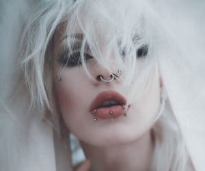 piercing, girl, and white hair image