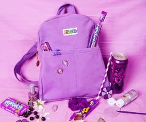 purple, schoolbag, and purple schoolbag image