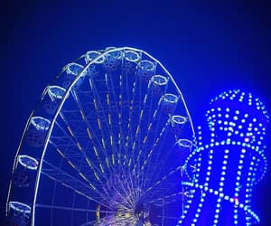blue, ferris wheel, and lights image
