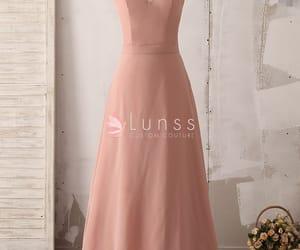 a-line, chiffon, and dusty pink image