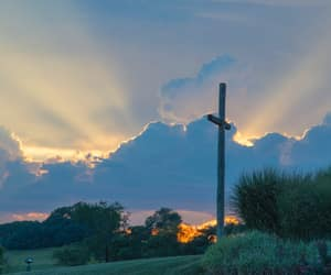 clouds, crosses, and sunlight image