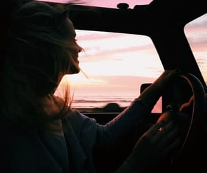 girl, sunset, and car image