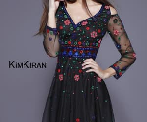 knee length dress, fit to flare dress, and black home coming dress image
