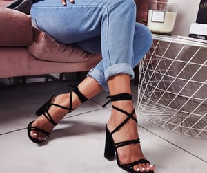 denim, high heels, and style image