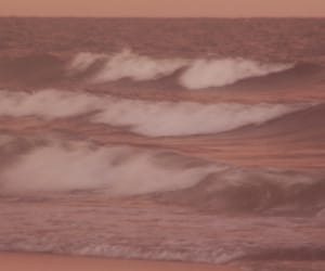 pink, beach, and ocean image