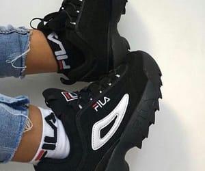 Fila, black, and shoes image