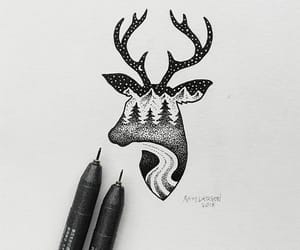 art, black, and deer image
