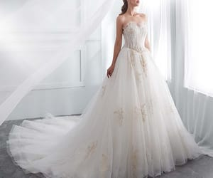 bridal gown, bride, and white wedding dress image