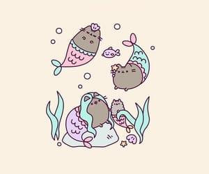 wallpaper, mermaid, and cat image