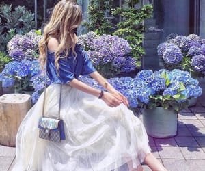 girl, blue, and flowers image