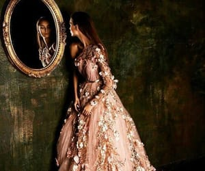 redhead pink dress and mirror floral lacedress image