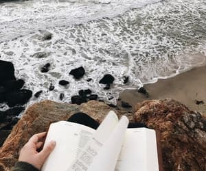 book, girl, and rocks image