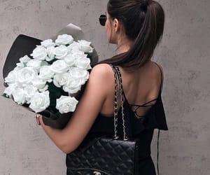 black, hair, and rose image