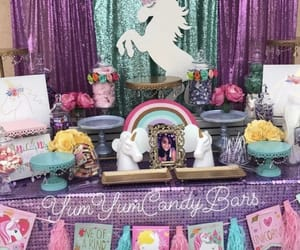 backdrop, unicorn, and candy table image