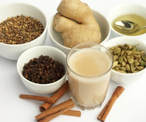 article and chai tea indian image