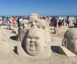 beach art, many faces, and Texas image