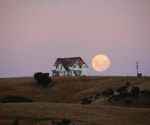 moon, house, and nature image