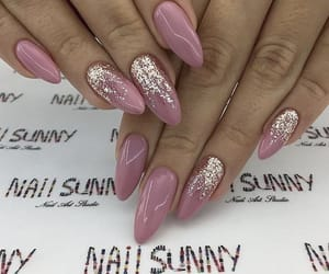 glitter, light pink, and long nails image