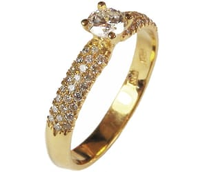 diamond ring, solitaire ring, and yellow gold image