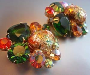 art glass, rhinestones, and earrings image