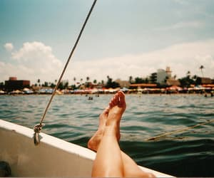 summer, feet, and boat image