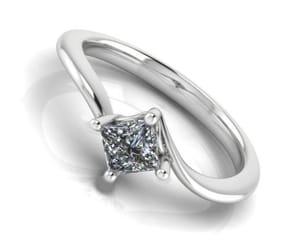 birthday gift, solitaire ring, and princess cut diamond image