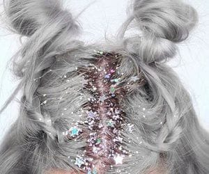 aesthetic, glitter, and space buns image
