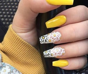 lovely, yellow, and nail art image