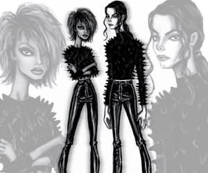 black and white, fashion illustration, and michael jackson image