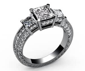 diamond ring, princess cut, and diamond engagement ring image